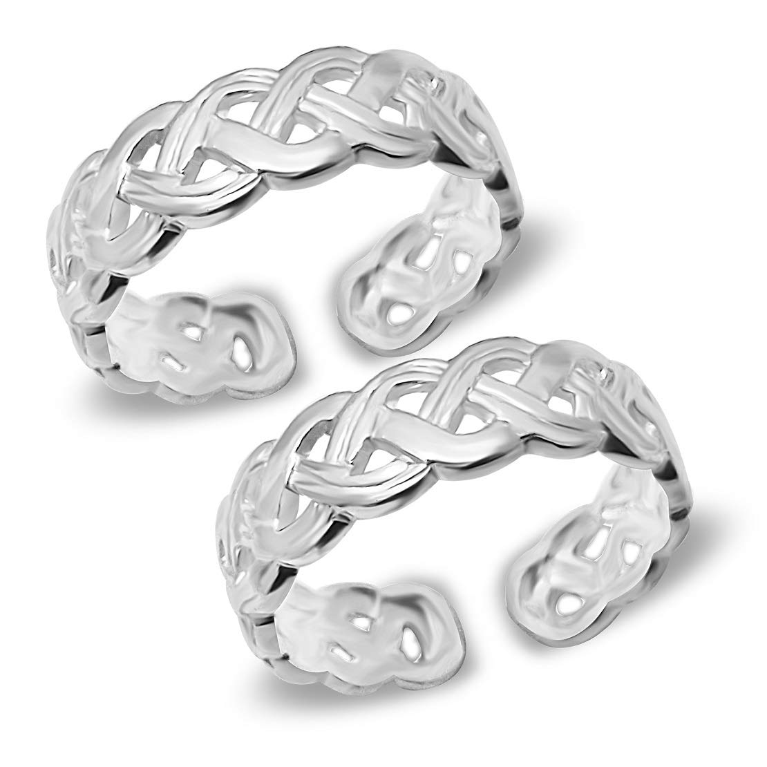 MJ 925 Criss-Cross Band Design Pure 92.5 Sterling Silver Toe Rings for Women