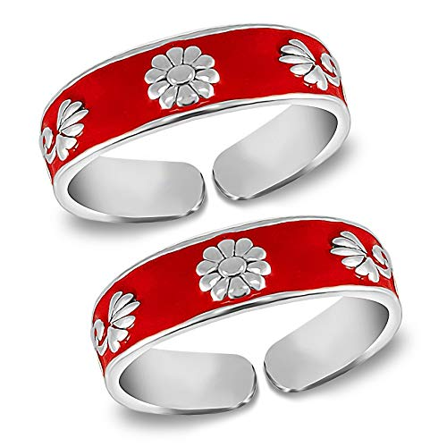 MJ Women's Red Enamel Band Design Comfortable Toe Rings in Pure 92.5 Sterling Silver