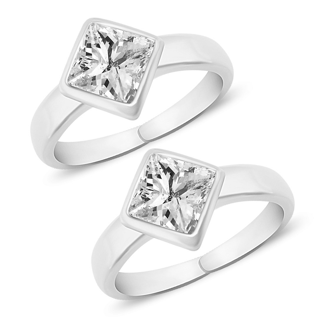 MJ 925 Solitaire CZ Silver Toe Rings in Pure 92.5 Sterling Silver for Women