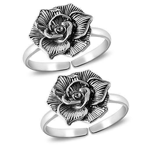 Parnika (Formerly MJ) Women's Blooming Rose Design Antique Silver Oxidised Silver Toe Rings in Pure 92.5 Sterling Silver