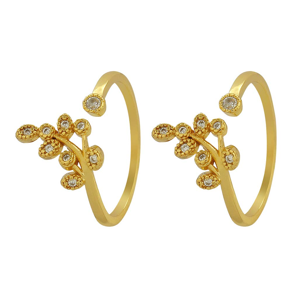 MUCH-MORE Beautiful Tree Leaves Look Light Weight Toe Rings For Women & Girls
