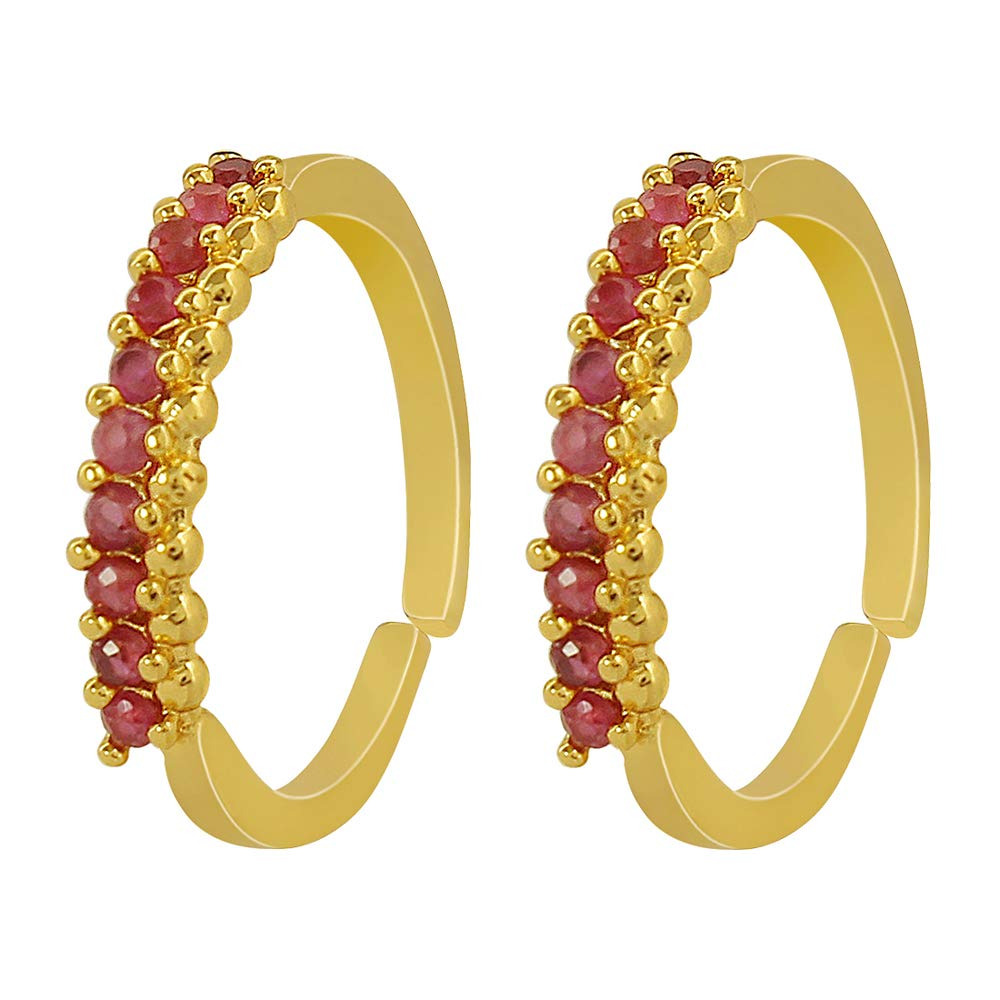 MUCH-MORE Single line Gold Plated Toe Rings in Light Weight Jewellery for Women & Girls