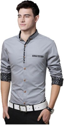 IndoPrimo Men Solid Casual Grey Shirt