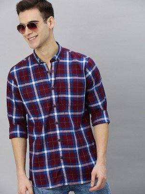 MAST & HARBOUR Men Checkered Casual Maroon, White, Blue Shirt
