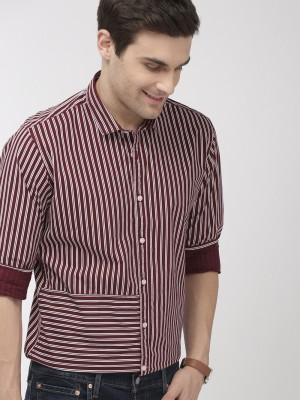 MAST & HARBOUR Men Striped Casual Maroon Shirt