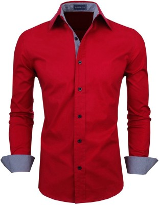 ZOMBOM Men Solid Casual Red Shirt
