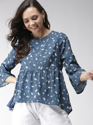 MAST & HARBOUR Casual Bell Sleeve Printed Women Blue Top