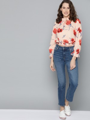 MAST & HARBOUR Casual Full Sleeve Floral Print Women Pink Top