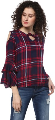 MAYRA Casual Full Sleeve Checkered Women Red Top
