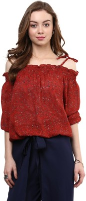 rare Casual Cold Shoulder Floral Print, Printed Women Red Top