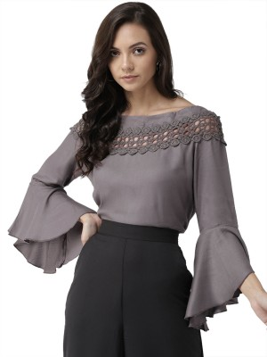 Style Quotient Casual Bell Sleeve Solid Women Grey Top