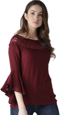 Style Quotient Casual Bell Sleeve Solid Women Maroon Top