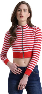 TEXCO Casual Regular Sleeve Striped Women Red, White Top