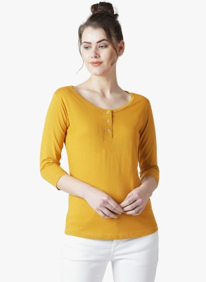 THE DRY STATE Solid Women Scoop Neck Yellow T-Shirt